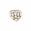 Glass Bead Heart 5X14mm Strung - Crystal/Gold Stars